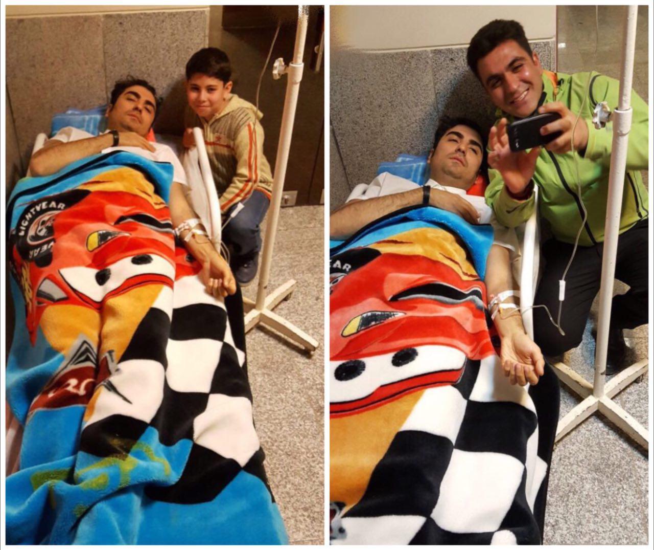 عکس خواننده ی که در بیمارستان کرمانشاه بستری شد