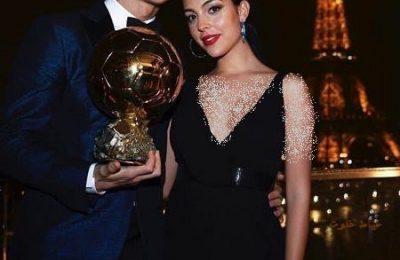 رونالدو و نامزدش در مراسم پنجمین توپ طلایش