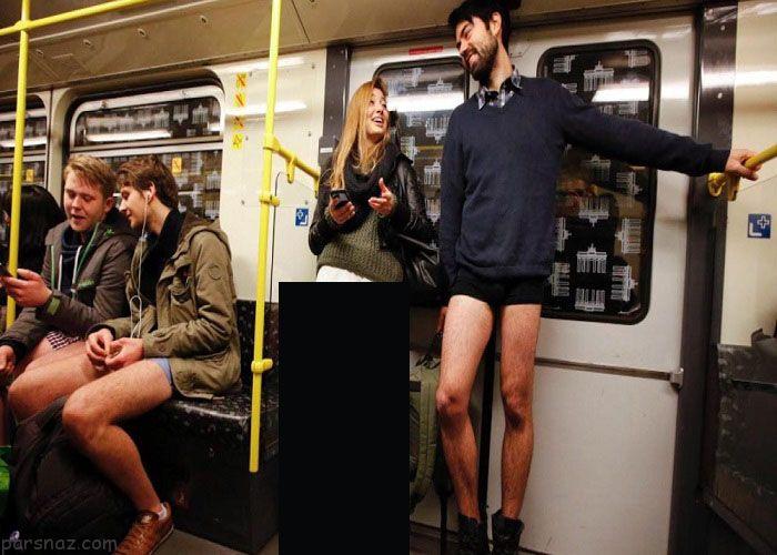 زن و مرد سوار مترو بدون شلوار